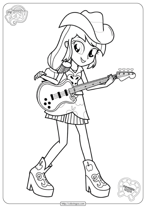 MLP Equestria Girls Coloring Pages Applejack