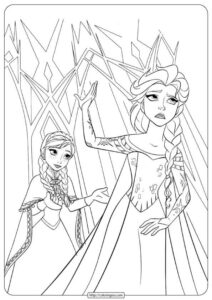 Printable Disney Frozen Anna - Elsa Coloring Pages