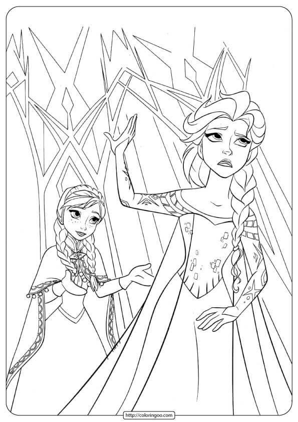 Queen Elsa And Princess Anna Hugging Frozen 2 Coloring Pages For ... | 842x595