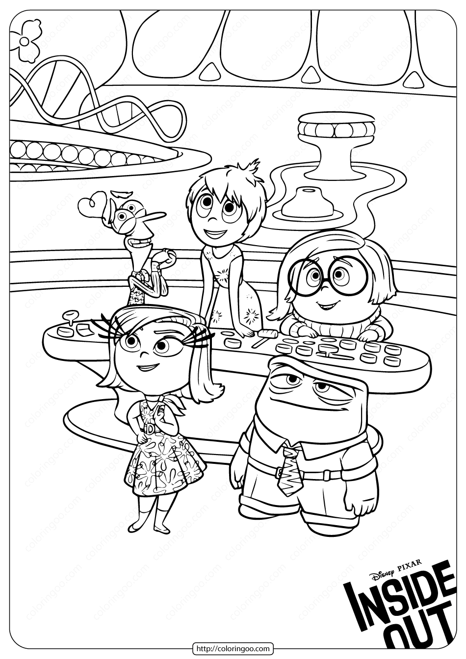 Printable Inside Out Emotions Coloring Pages