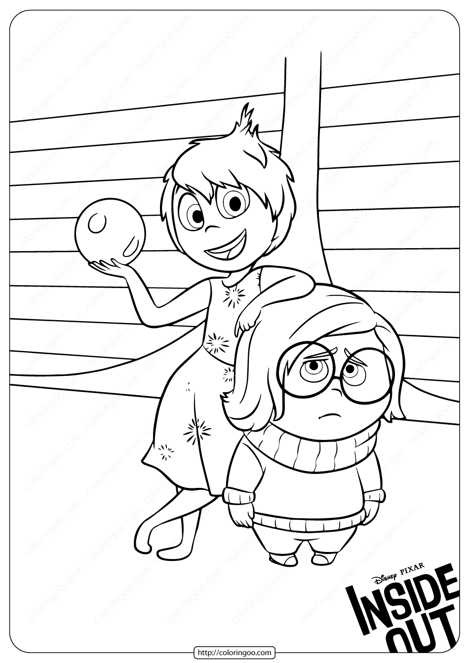 Printable Inside Out Joy and Sadness Coloring Pages