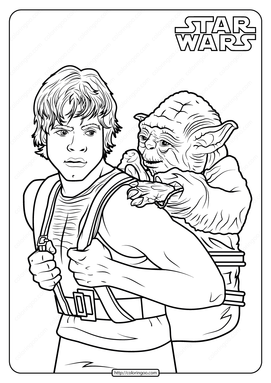 Printable Star Wars Luke and Yoda Coloring Pages
