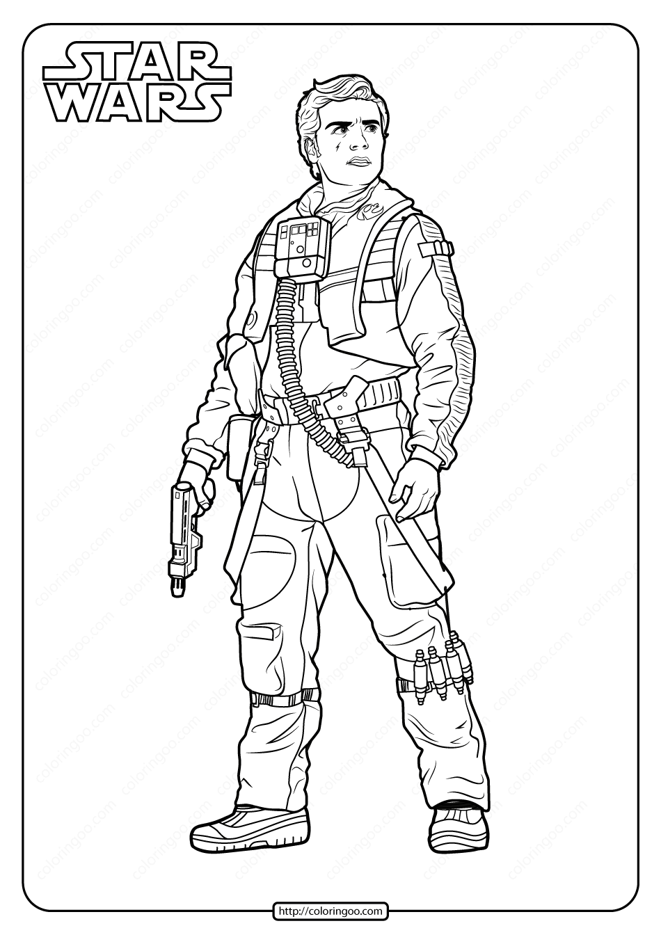 Printable Star Wars Poe Coloring Pages Book 1