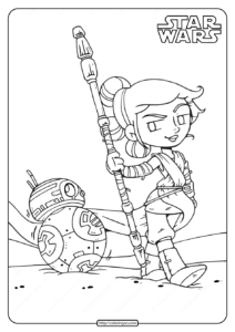 Printable Star Wars Rey and BB 8 Coloring Pages