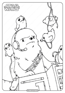 Star Wars Chewie and Porgs Coloring Pages