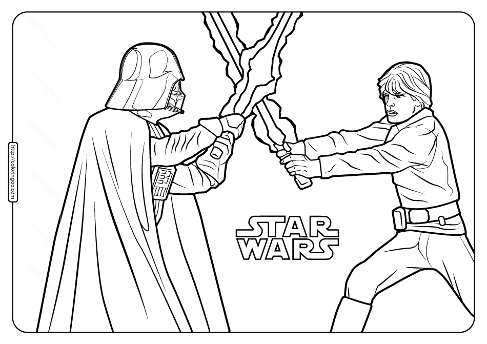 Star Wars Darth Vader and Luke Coloring Pages