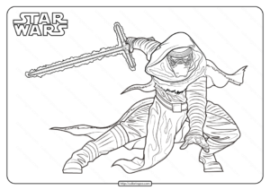 Star Wars Kylo Ren Printable Coloring Page Book