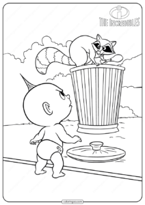The Incredibles jack Jack and Racoon Coloring Pages