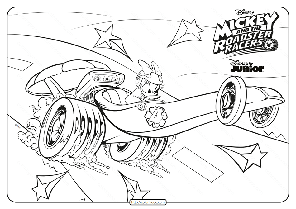 Mickey and the Roadster Racers Daisy Coloring Page