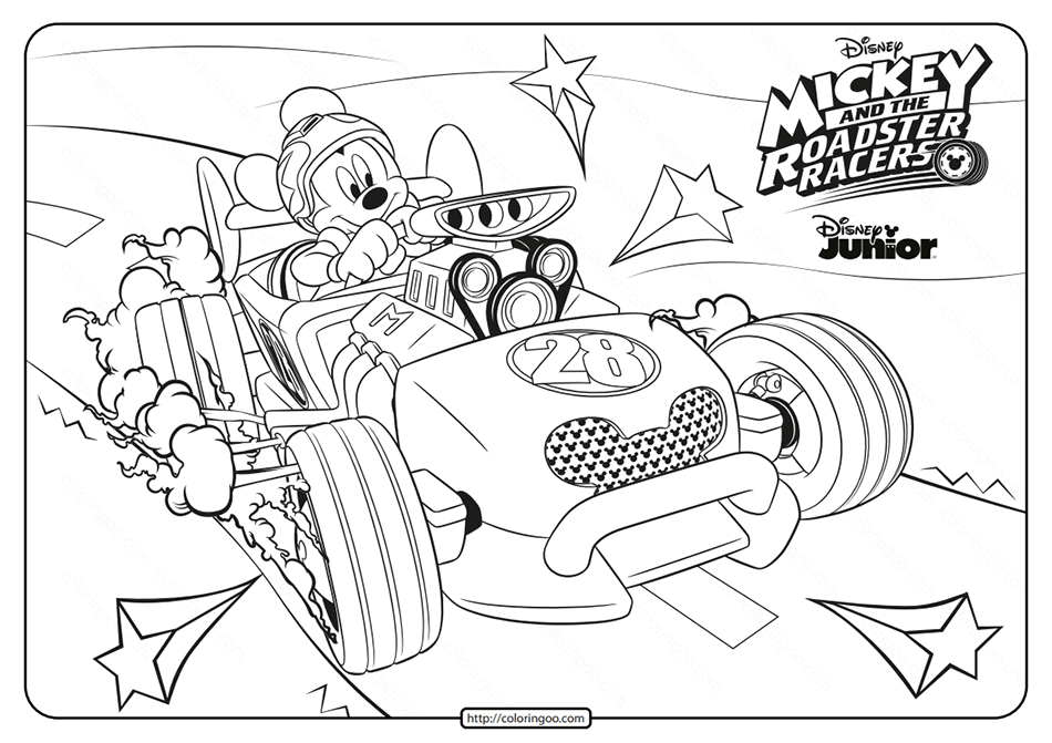Mickey and The Roadster Racers Mickey Coloring Page