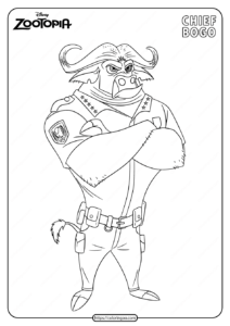Printable Disney Zootopia Chief Bogo Coloring Page