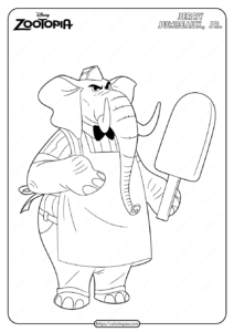 Printable Disney Zootopia Jerry Coloring Page
