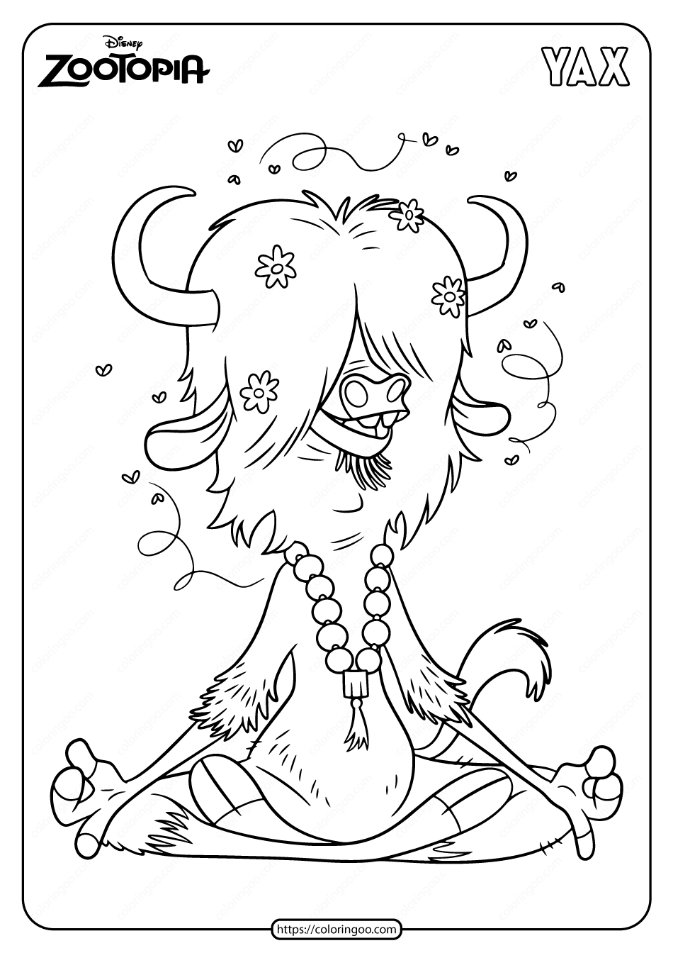Printable Disney Zootopia Yax Coloring Pages
