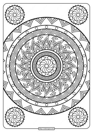 Printable Floral Mandala PDF Coloring Pages 31