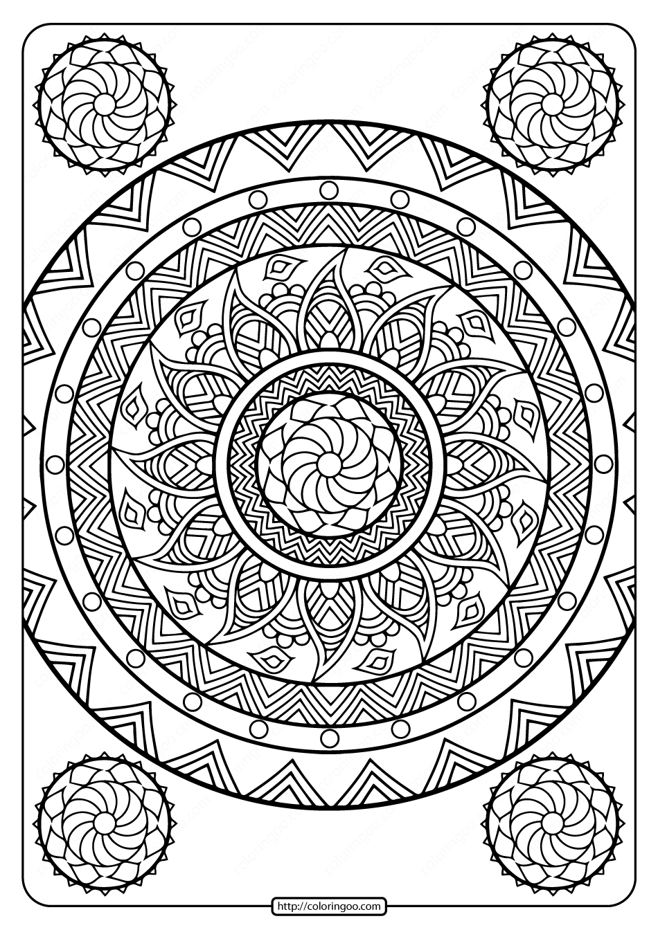 Printable Floral Mandala PDF Coloring Pages 31