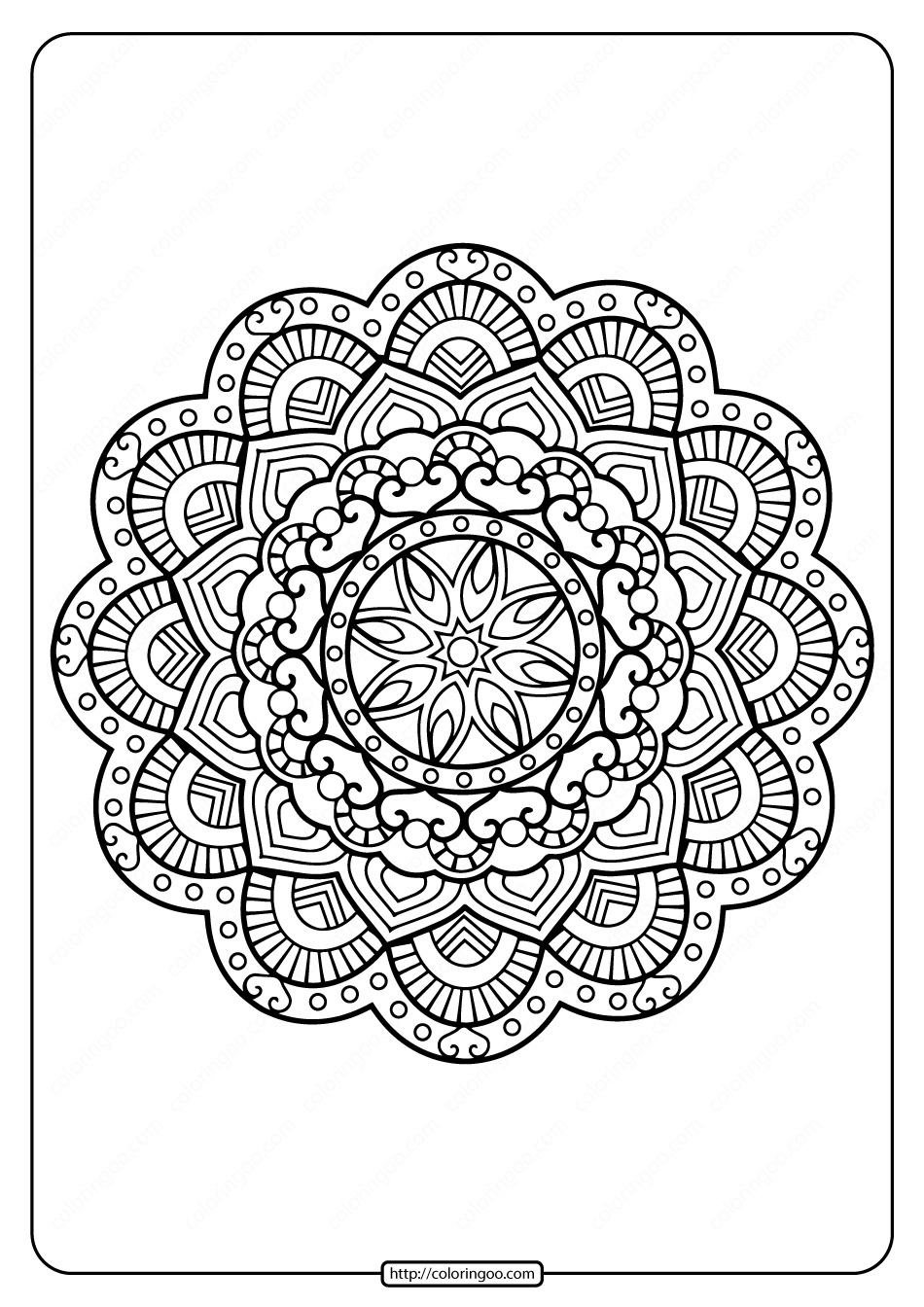 Printable Floral Mandala PDF Coloring Pages 32
