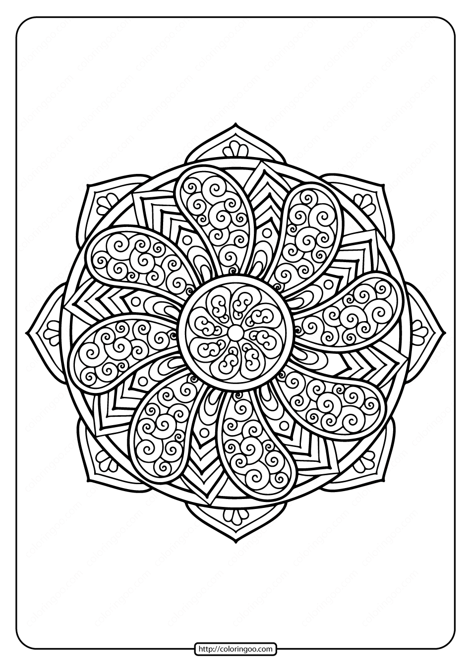 Printable Floral Mandala PDF Coloring Pages 33