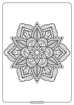 Printable Floral Mandala PDF Coloring Pages 34