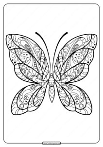 Printable Butterfly Mandala PDF Coloring Pages 38