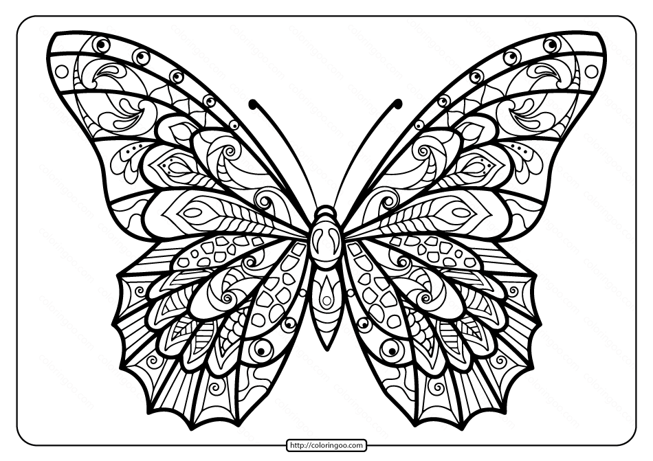 Printable Butterfly Mandala PDF Coloring Pages 39