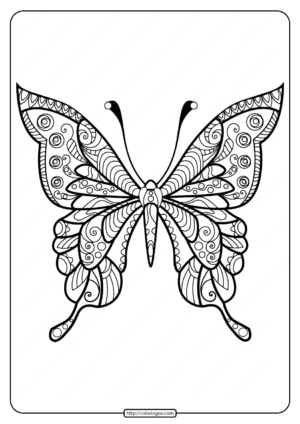 Printable Butterfly Mandala PDF Coloring Pages 40