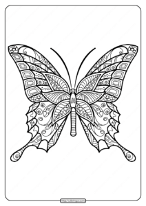 Printable Butterfly Mandala PDF Coloring Pages 42
