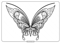 Printable Butterfly Mandala PDF Coloring Pages 43