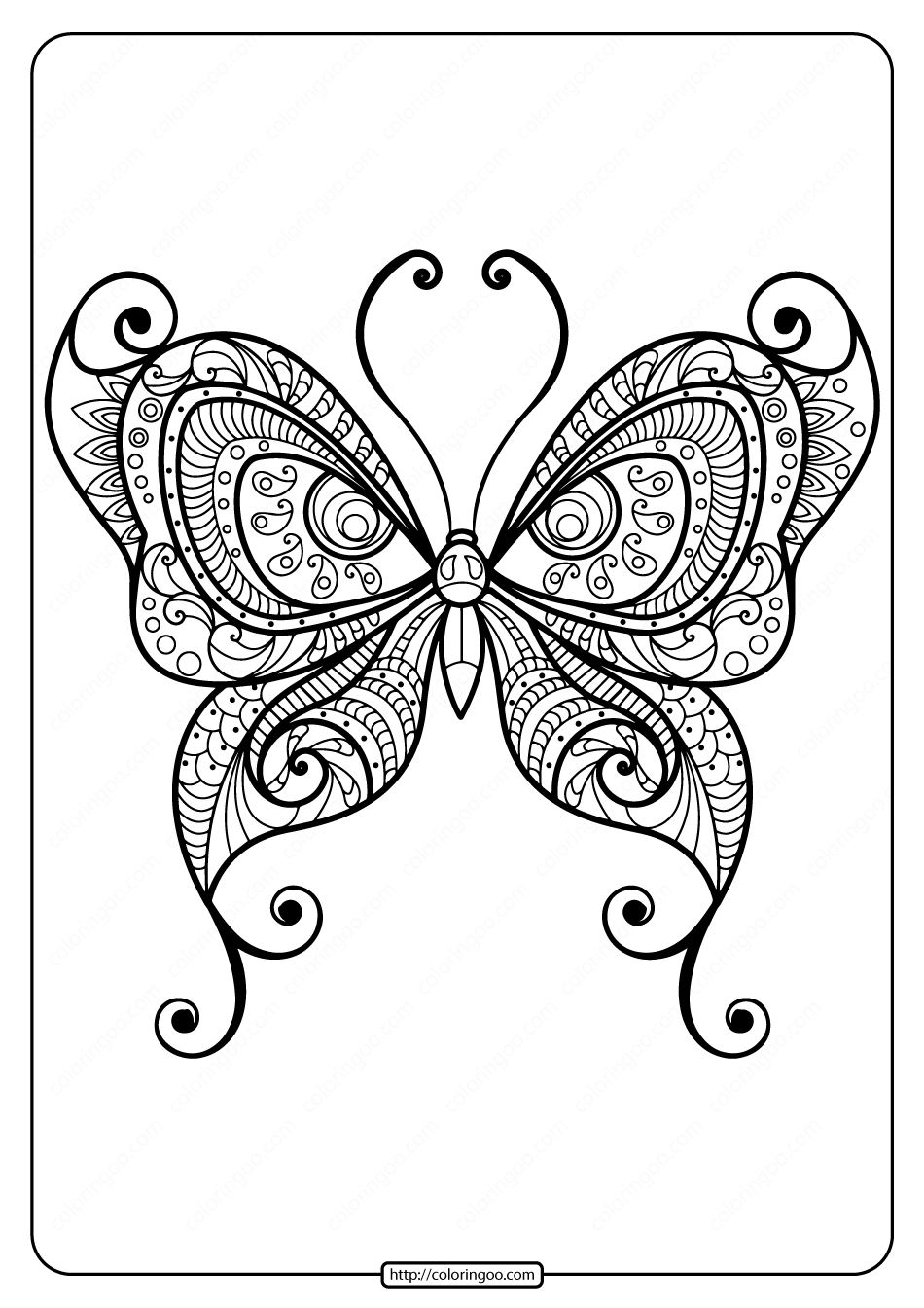 Printable Butterfly Mandala PDF Coloring Pages 45
