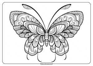 Printable Butterfly Mandala PDF Coloring Pages 46