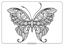 Printable Butterfly Mandala PDF Coloring Pages 47