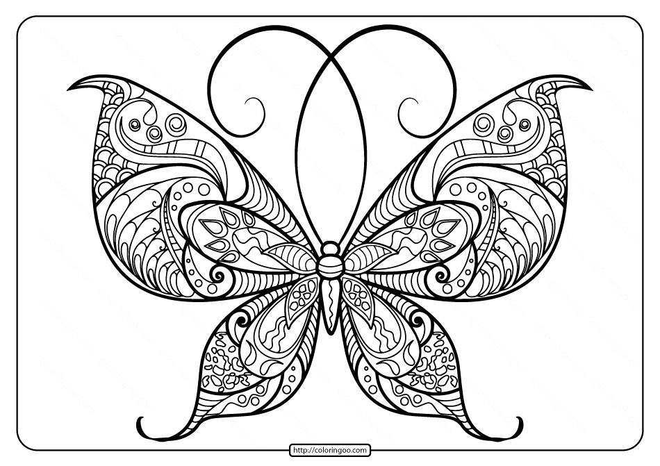 Printable Butterfly Mandala PDF Coloring Pages 48