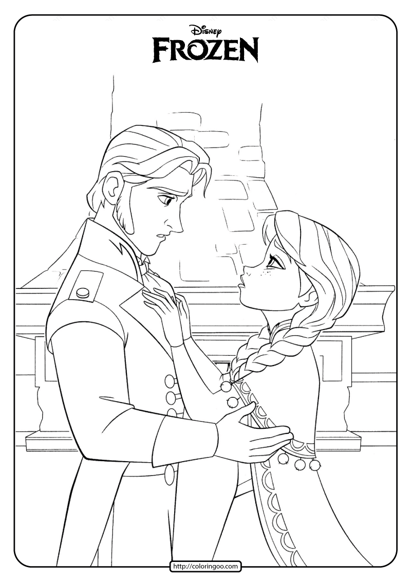 Disney Frozen Anna and Hans Coloring Pages 1
