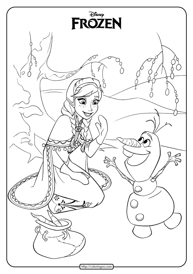 Disney Frozen Anna and Olaf Coloring Pages 02