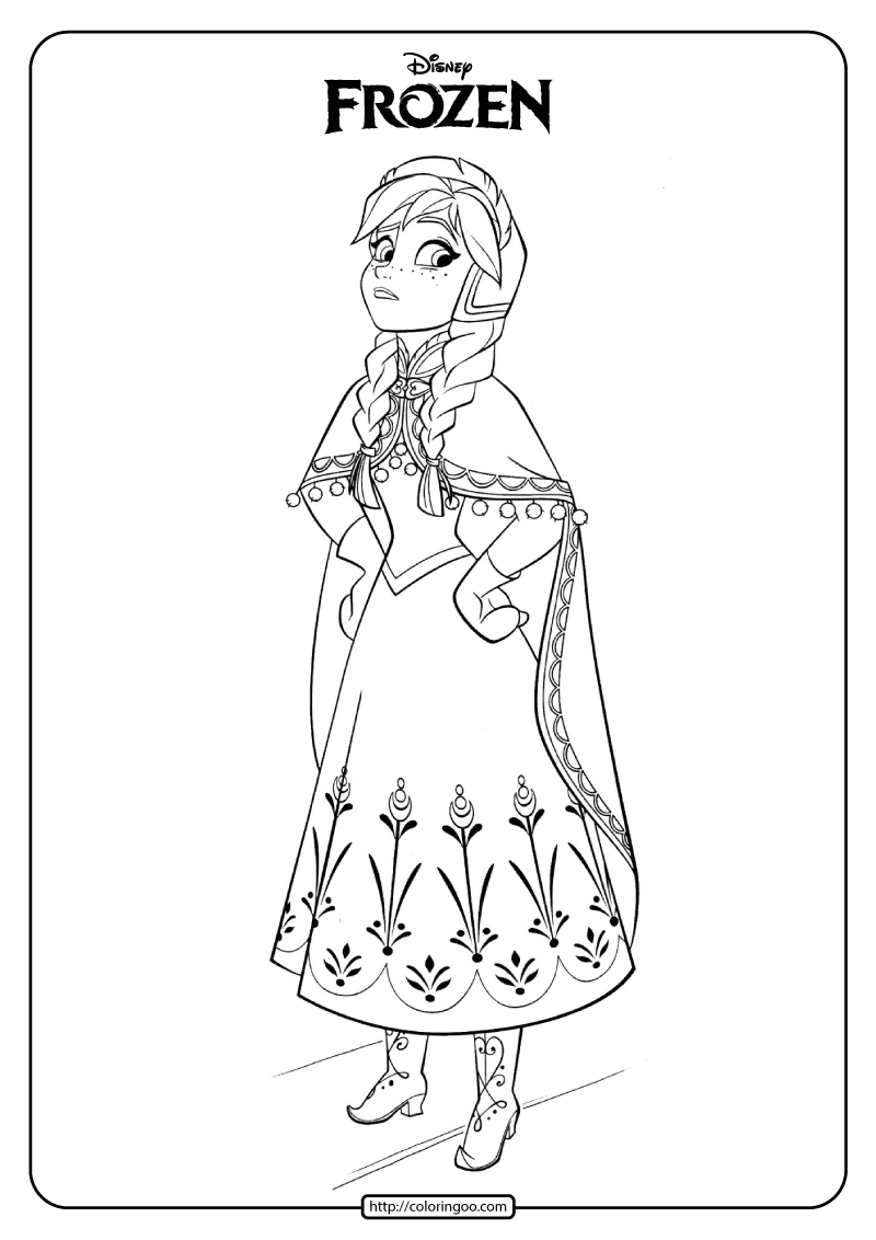 - Disney Frozen Anna Coloring Pages Book 04