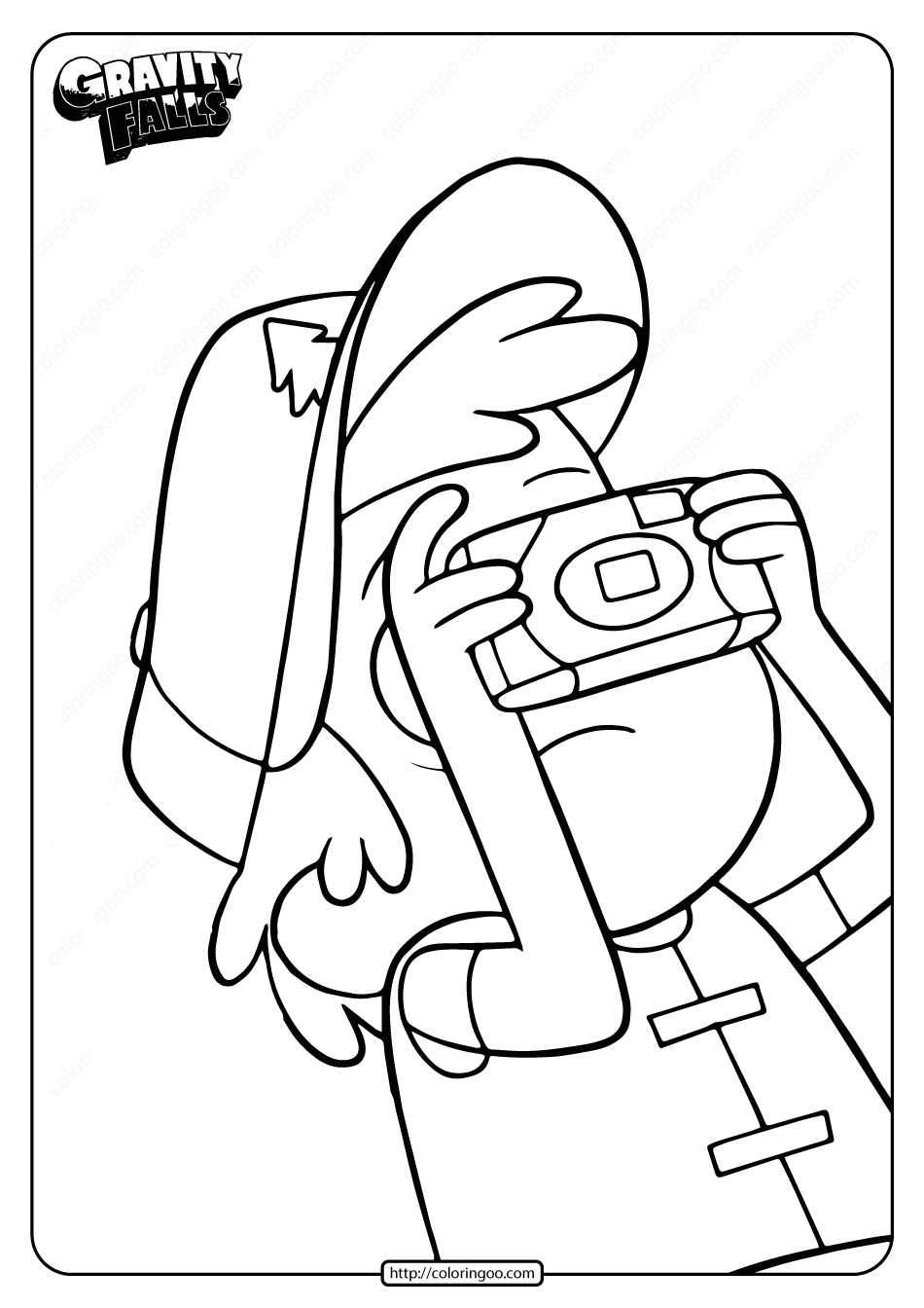 Free Printable Gravity Falls Dipper Coloring Page