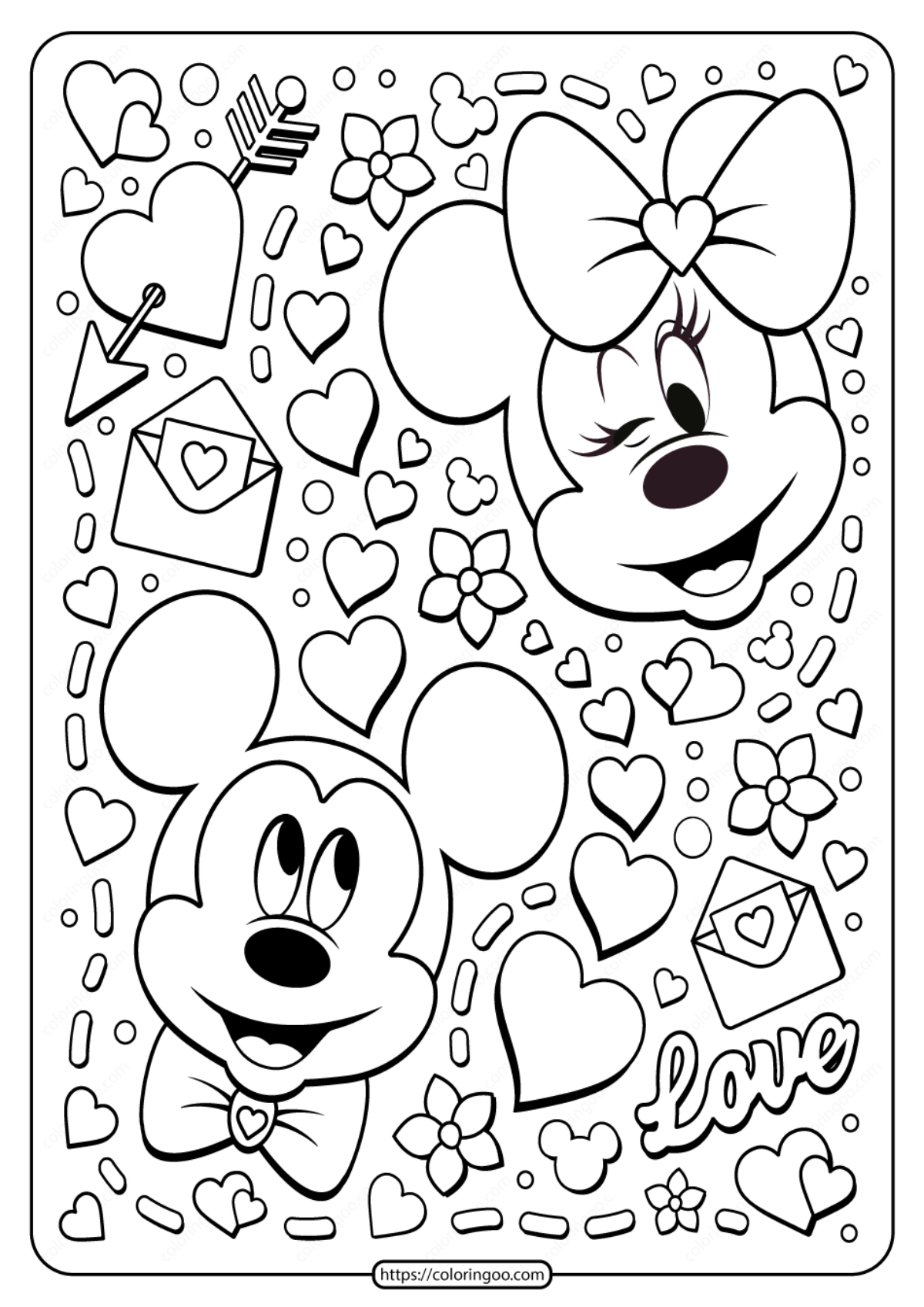 Mickey and Minnie Mouse Valentine Coloring Pages #1207 Mickey and ... | 1697x1200