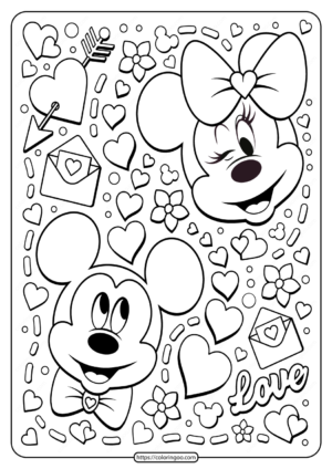 Mickey Minnie Mouse Valentine Coloring Page