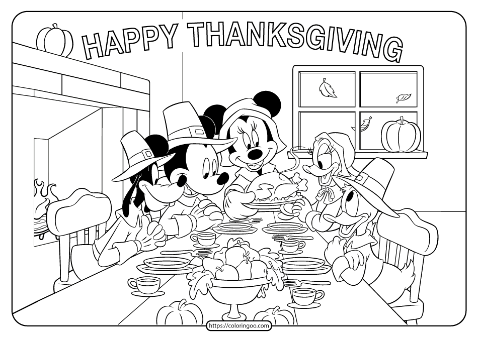 Mickey Mouse Thanksgiving Coloring Book Pages