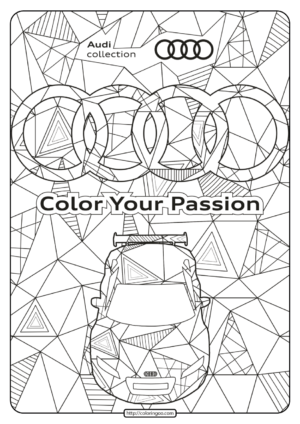 Printable Audi Cars Coloring Book & Page - 01