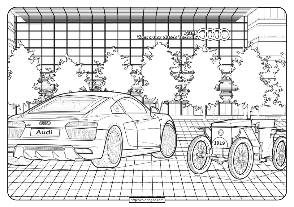 Printable Audi Cars Coloring Book & Page - 07