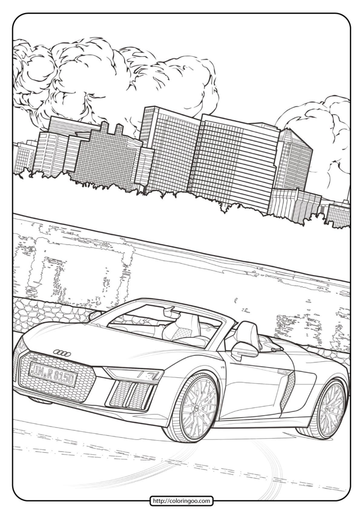 Pagani Zonda R Coloring Page - Free Printable Coloring Pages for Kids | 1697x1200