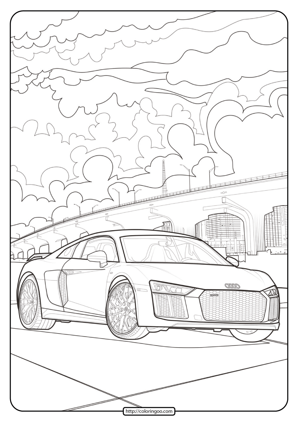 Printable Audi Cars Coloring Book & Page - 12