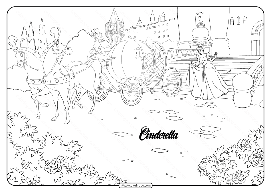 Printable Disney Cinderella Carriage Coloring Page
