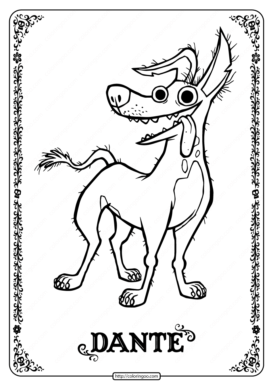 Printable Disney Coco Dante Coloring Pages - 01