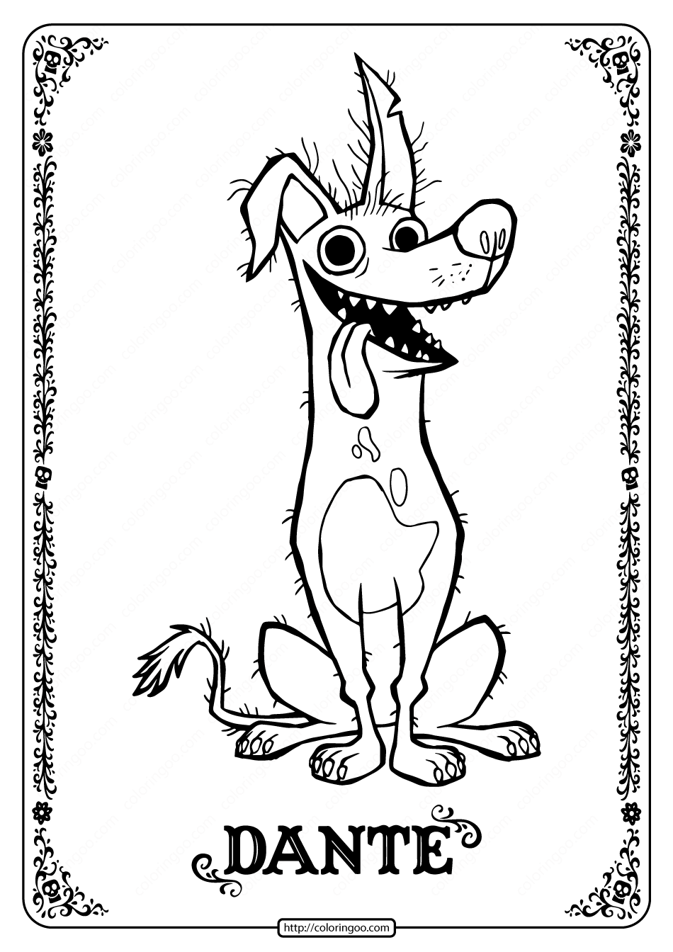 Printable Disney Coco Dante Coloring Pages - 02