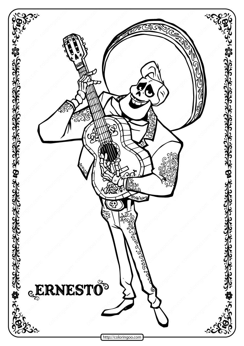 Printable Disney Coco Ernesto Coloring Pages