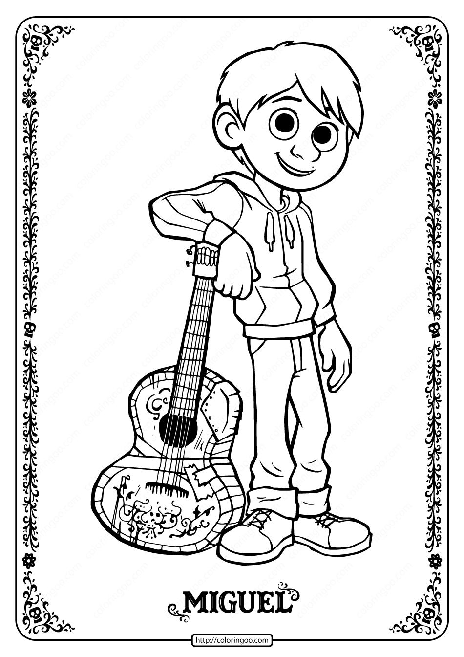 Printable Disney Coco Miguel Coloring Pages