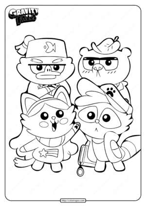 Printable Gravity Falls Cute Animals Coloring Page