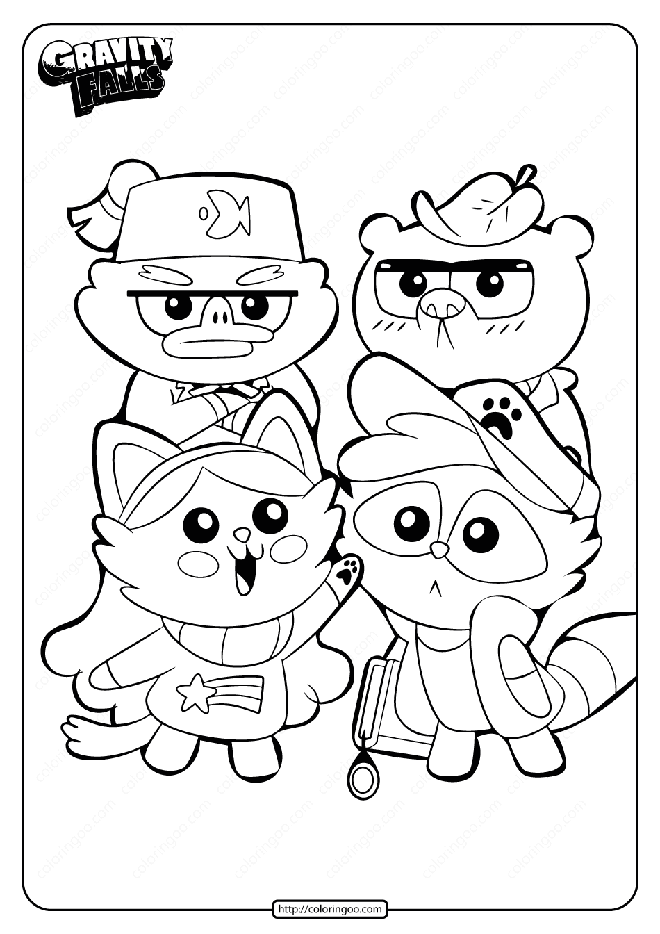 Printable Gravity Falls Cute Animals Coloring Page 1