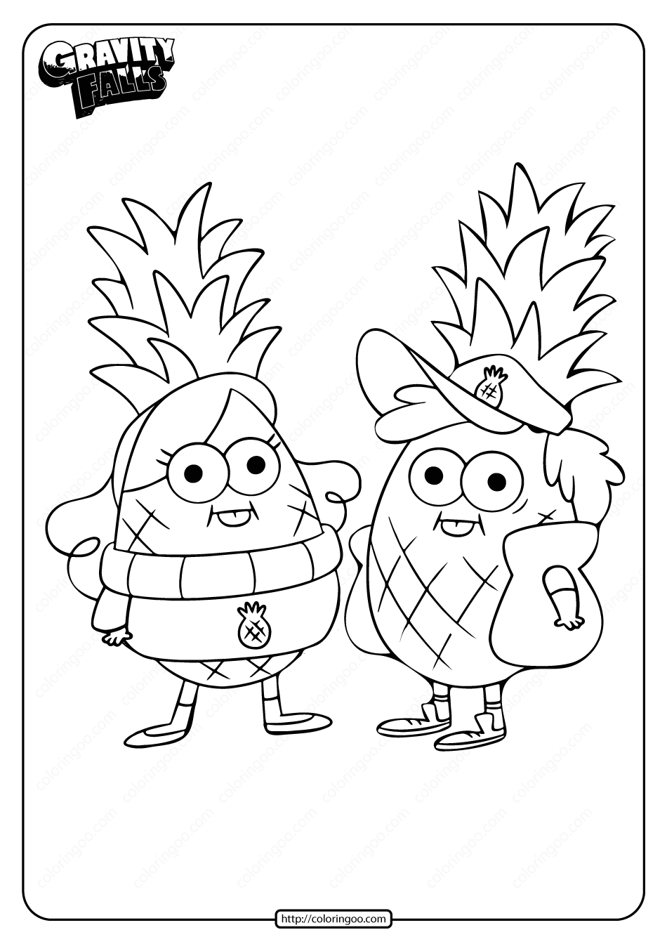 Gravity Falls Dipper and Mabel Coloring Page